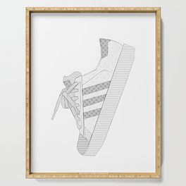 sneaker illustration, shoe drawing, 80s , black and white Serving Tray