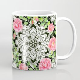 Peach Pink Roses and Mandalas on Black and White Lace Coffee Mug