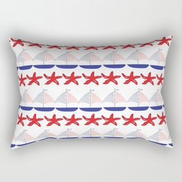 Nautical Pattern Small Sailboats and Starfishes Rectangular Pillow