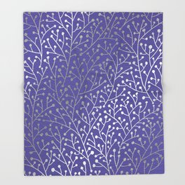 Periwinkle Berry Branches Throw Blanket