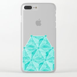 Geodesic Palm_Turquoise Clear iPhone Case