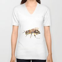 bee V-neck T-shirts featuring Bee by Elena Sandovici