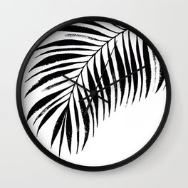 Tropical Palm Frond: Black & White Wall Clock