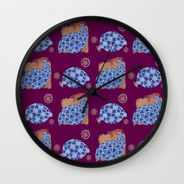 blue birds pattern on gold and purple Wall Clock