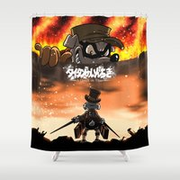 titan Shower Curtains featuring A Quack on Titan by ADobson