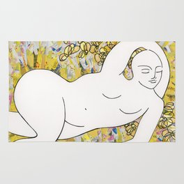 Nude with Yellow Flowers Rug