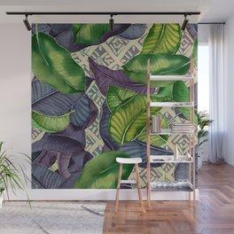 Banana Leaves on Mudcloth green,tan Wall Mural