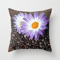 COFFEE & VIOLET DAISY  Throw Pillow