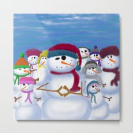 The Snowman and His Posse Metal Print