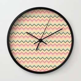 Pink And Blue Chevron Geometric Pattern Wall Clock
