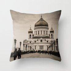 the Cathedral of Christ the Savior in Moscow in Sepia Throw Pillow