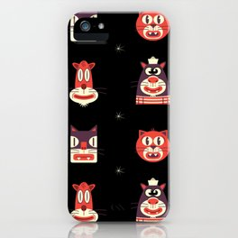 Kitty Kat Head Patterns with Dingbats iPhone Case