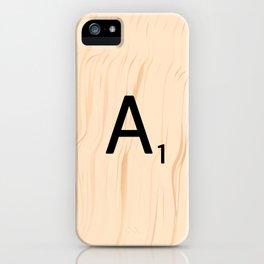 Letter A Scrabble Art iPhone Case