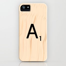 Letter A Scrabble Art iPhone Case