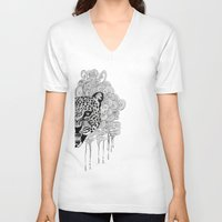leopard V-neck T-shirts featuring Leopard by Zora Chen