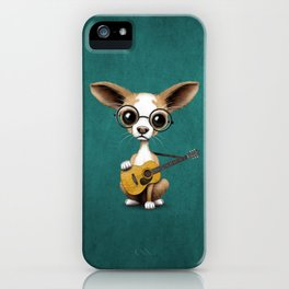 Chihuahua Puppy Dog Playing Old Acoustic Guitar Teal iPhone Case