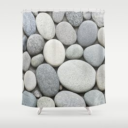 Grey Beige Smooth Pebble Collection Shower Curtain
