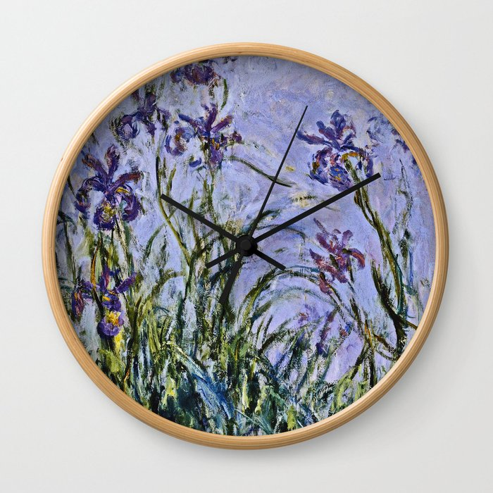 Claude Monet  -  Iris Mauves Wall Clock