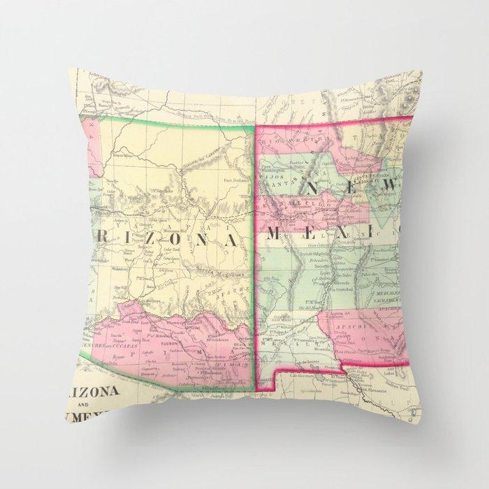 Vintage Map of Arizona and New Mexico (1867) Throw Pillow by bravuramedia