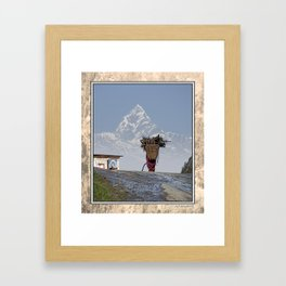 WOOD CARRIER AND MACHAPUCHARE IN NEPAL Framed Art Print