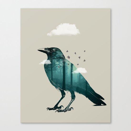 Teal Raven Canvas Print