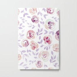 Floral Rose #1 | Lilac, Mint & Blush Palette Metal Print