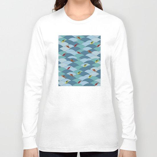 wave and fish Long Sleeve T-shirt