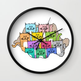 Meow-mania, the land of cats Wall Clock