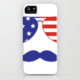 4th of July American Mustache and Sunglasses Fourth of July iPhone Case