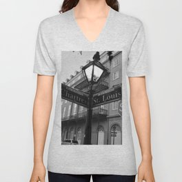 French Quarter, New Orleans streets Unisex V-Neck