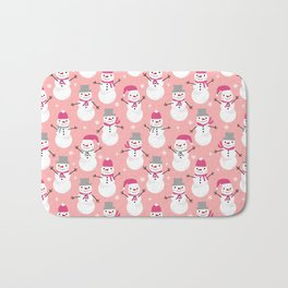 Snowman pattern illustration by charlotte winter snowflakes mittens scarves Bath Mat