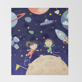 Space kids astronauts planets asteroids and spaceships Throw Blanket