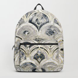 Monochrome Art Deco Marble Tiles Backpack