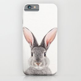 Baby Rabbit, Grey Bunny, Baby Animals Art Print By Synplus iPhone Case