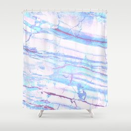 Pastel Marble with Blue Green Purple Shower Curtain