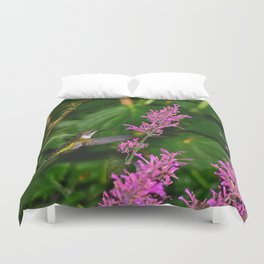 Hummingbird and agastache flower 60 Duvet Cover