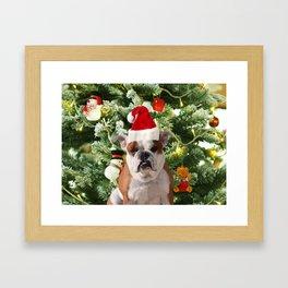 Santa Hat Bulldog Christmas Tree Snowman Gift Box Framed Art Print