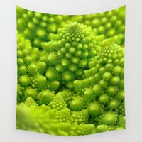 fibonacci Wall Tapestries featuring Macro Romanesco Broccoli by Nicolas Raymond
