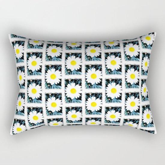 SMILE Pattern - White Daisy Flower #1 Rectangular Pillow