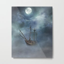 Foggy Night Sail Metal Print