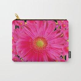Black & Pink Gerbera Flowers Grey Patterns Art Carry-All Pouch