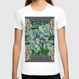 GARDEN OF GRAY-GREEN PINK SUCCULENTS T-shirt
