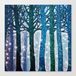 The forest of fireflies Canvas Print
