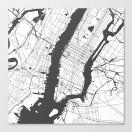 New York City White on Gray Street Map Canvas Print