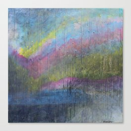 Surprise Valley colorful mixed media abstract landscape Canvas Print