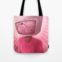 cracked Tote Bags featuring cracked. by Zombie Rufio