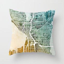 Seattle Washington Street Map Throw Pillow