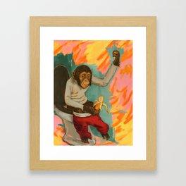 """Primitive Neurological Circuitry (Chimp on Toilet)"" Framed Art Print"