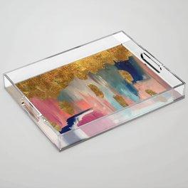 Gold Leaf & Indigo Blue Abstract Acrylic Tray