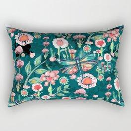 Botanical Dragonfly Garden Rectangular Pillow